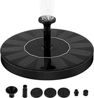Solar Fountain Pump, 1.4W Free Standing Water Fountain Pump Kit with 4 Different Spray Pattern Heads for Bird Bath, Fish Tank, Small Pond and Garden