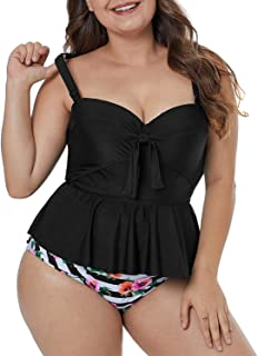 Womens Plus Size Floral Print Tankini Swimsuit Two Piece Bathing Suits M-3XL