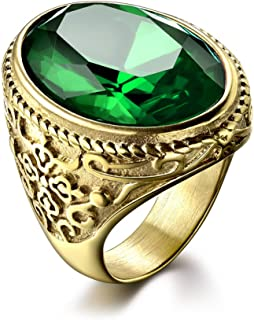 MASOP Luxury Jewelry Oval Green Stone Stainless Steel Men's Rings Simulated Emerald Size 8-12