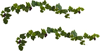 Nearly Natural Grape Leaf Deluxe Garland with Grapes (Set of 2), 6'