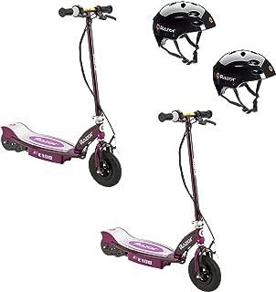 Razor E100 Rechargeable Electric Motor Kids Scooters, Purple (2 Pack) + Helmets