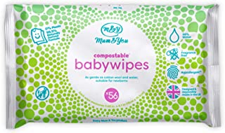 Mum&You Biodegradable and Compostable Baby Wet Wipes 336 Count (6 Packs of 56) - 98% Water, 0% Plastic, Hypoallergenic & Dermatologically Tested