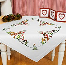 Kamaca Stickpackung Rentier Party Tischdecke 80x80 cm Kreuzstich vorgezeichnet Baumwolle komplettes Stickset mit Stickvorlage Weihnachten