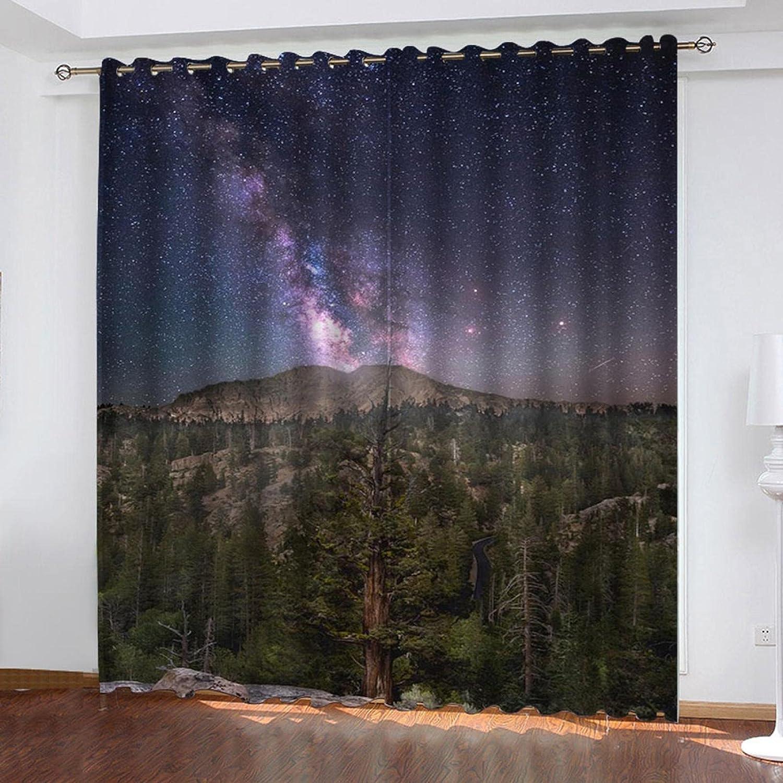 ASNIVI Printing Window Curtain Landscape Starry Green Woods Sky trend rank 40% OFF Cheap Sale