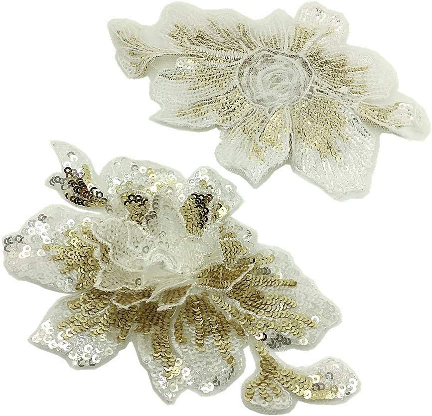 10 Pc Small White Rose Sequin Embroidered Three-Dimensional Lace Collar Flower Corsage Neckline DIY Applique Clothing Patch Lace Accessories