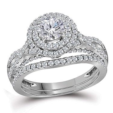 14kt White Gold Round Diamond Double Halo Bridal Wedding Engagement Ring Band Set for Women 1-3/4 Cttw