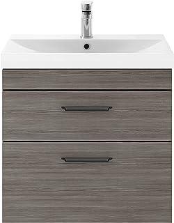 Nuie ATH018D09 Athena Modern Bathroom Wall Hung Vanity Storage Unit with Matt Black Profile Handles, Brown Grey Avola