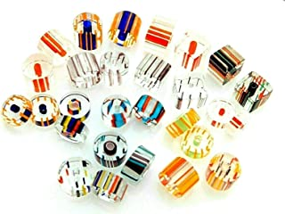 28 pcs Paired Cane Blown Glass Chub Slice Cube Striped 14 Pairs Earring Beads