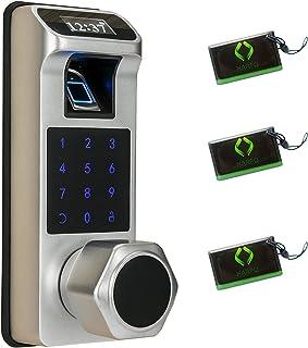قفل درب اثر انگشت قفل درب هوشمند Harfo K1 ، قفل درب الکترونیکی با صفحه کلید و کلید با صفحه نمایش OLED ، صفحه کلید صفحه لمسی ، قفل خودکار ، نصب آسان برای خانه