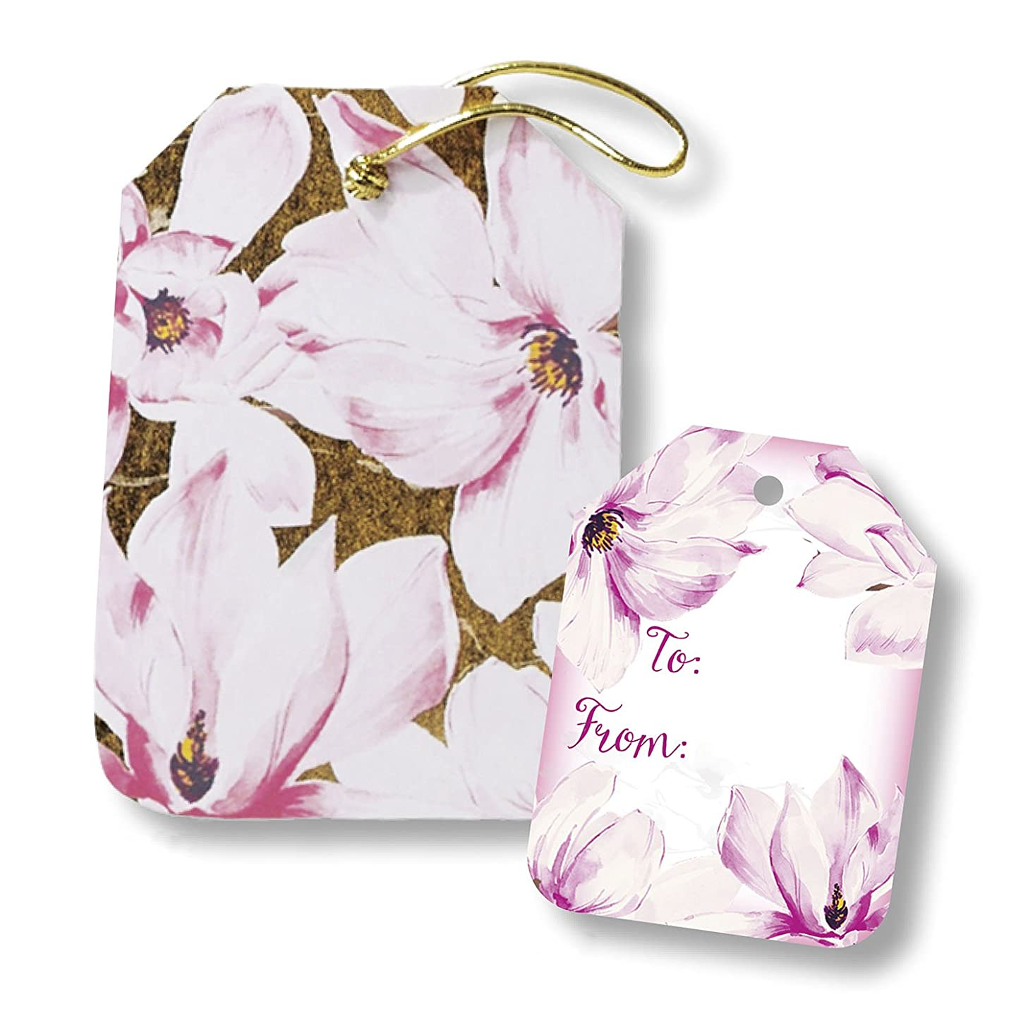 Jillson Roberts Bulk 100-Count Decorative String-Tie Gift Tags Available in 7 Different Designs, Magnolia Blossoms