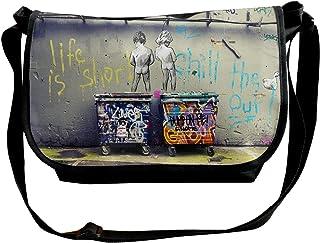 Reginald Nixon Banksy Graffiti Canvas ショルダーバッグ メッセンジャーバッグ 斜めがけ 軽量 カジュアル 旅行 アウトドア スポーツ 通学 通勤