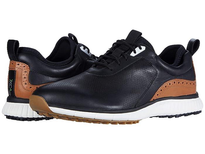 Johnston and Murphy  Waterproof XC4 Golf H1-Luxe Hybrid Sneaker (Black Waterproof Full Grain) Mens Shoes