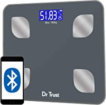 Dr Trust (USA) Rechargeable Bluetooth Digital Smart Fitness Body Fat Composition Analyzer BMI Weight Machine For Human USB Electronic Weighing Scale- 505 (Gray)