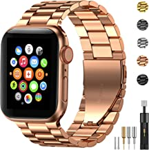 Fitlink Stainless Steel Metal Strap Replacement Link Bracelet Band Compatible with 2019 Apple Watch Series 5 Apple Watch Series 1/2/3/4 38/40mm and 42/44mm(Rose Gold, 38/40 mm)