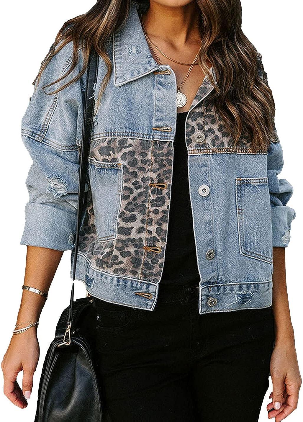 FindThy Women's Vintage Denim Jacket Leopard Patchwork Distressed Jean Trucker Jacket