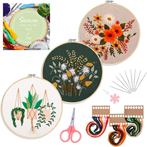 Santune 3 Sets Embroidery Starter Kit with Pattern and Instructions, Cross Stitch Set, Stamped Embroidery Kits with 3...