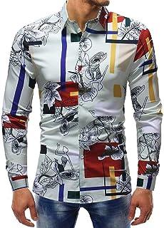 Camisas Entalladas para Negocios Hombre Camisa De Impresa para Tamaños Cómodos El Ocio Blusa Estampada Camisa De Polo De M...