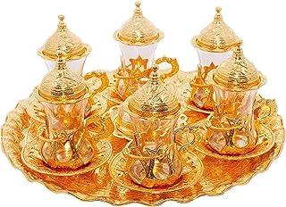 Alisveristime (Set of 6) Turkish Tea Glasses Set Saucers Holders Spoons Decorated (Gold) (Eski)