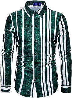 GAGA Men Lapel Button Slim Fit Stripe Splicing Blouses Long Sleeve Fashions Tops Casual T Shirt