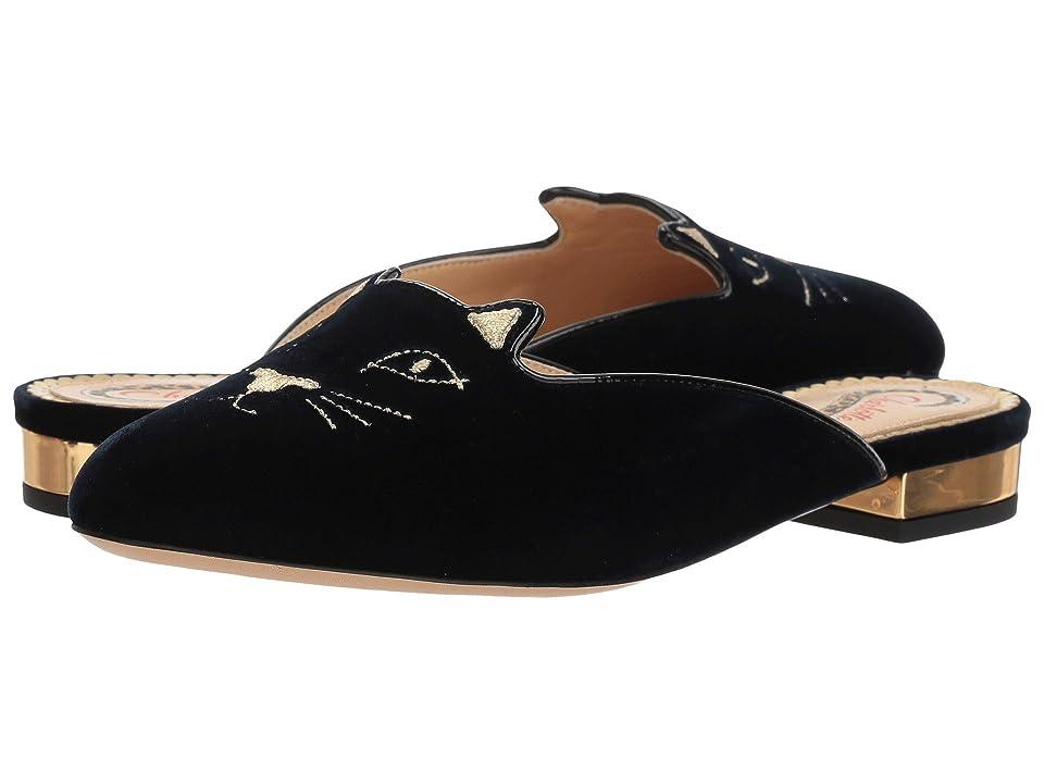 Charlotte Olympia Kitty Slippers (Navy/Black Velvet/Gold) Women