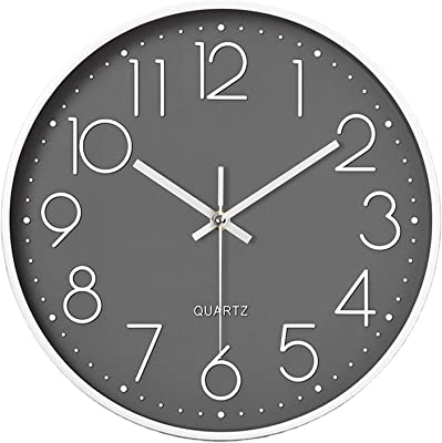 Konigswerk Round Wall Clock Battery Operated Non-Ticking Silent Wall Clock Modern Simple Style Decor Clock for Home/Office/School/Kitchen/Bedroom/Living Room (12 Inch Gray)
