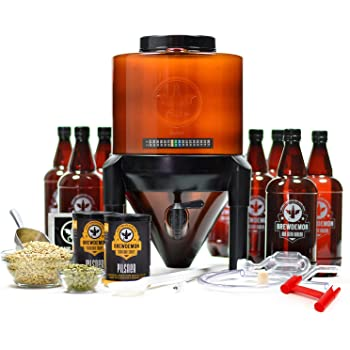 BrewDemon Craft Beer Brewing Kit Signature Pro with Bottles - Conical Fermenter Eliminates Sediment and Makes Great Tasting Home Brewed Beer - 2 gallon IPA