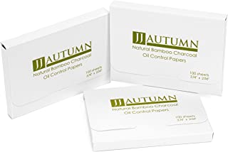 JJ Autumn Natural Bamboo Charcoal Oil Absorbing Tissues - Easy Carry and Take Out Design - Premium Face Oil Blotting Paper...