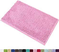 MAYSHINE 20x32 Inches Non-Slip Bathroom Rug Shag Shower Mat Machine Washable Bath Mats with Water Absorbent Soft Microfibers of Pink