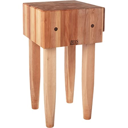Amazon Com John Boos Pca1 Maple Wood End Grain Solid Butcher Block With Side Knife Slot 18 Inches X 10 Inch Top 34 Tall Natural Legs Furniture Decor