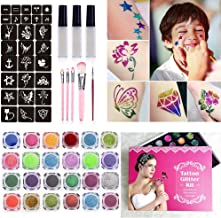 Glitter Tattoo Kit with 24 Large Glitter Colors, 60 Cool Tattoo Stencils, 5 Pink Cosmetic Brushes,3 Glitter Glue   New Glitter Temporary Tattoos Makeup Set for Adult Teenagers Kids (Party Accessory &