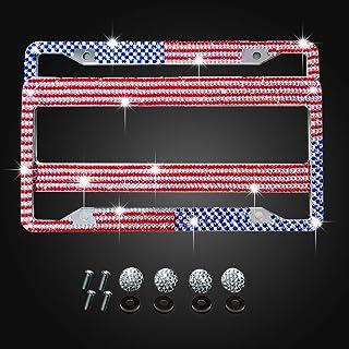 American USA Flag License Plate Frame Bling Luxury Handmade Crystal Diamond Sparkly License Plate Frame Rhinestone Car/Truck/SUV License Plate Holder (2 Frames)