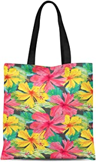S4Sassy White Leaves & Floral Print Canvas Shopping Tote Bag Carrying Handbag Casual Shoulder Bag 16x12 Inches