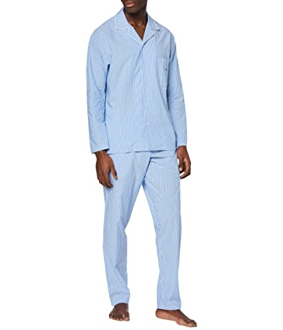 HOM Normandy Long Sleeve Woven PJ Set (White/Blue) Men