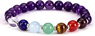 Cherry Tree Collection Chakra Stretch Bracelet | Genuine Natural 8mm Gemstones Beads, Sterling Silver Spacers | Men/Women ...