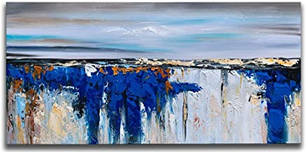 MyArton Pure Hand Painted Abstract Canvas Wall Art Painting Picture Modern Textured Artwork with Huge Blue Color Sea and Sky Style for Home and Office Decoration Framed Ready to Hang 48x24inch