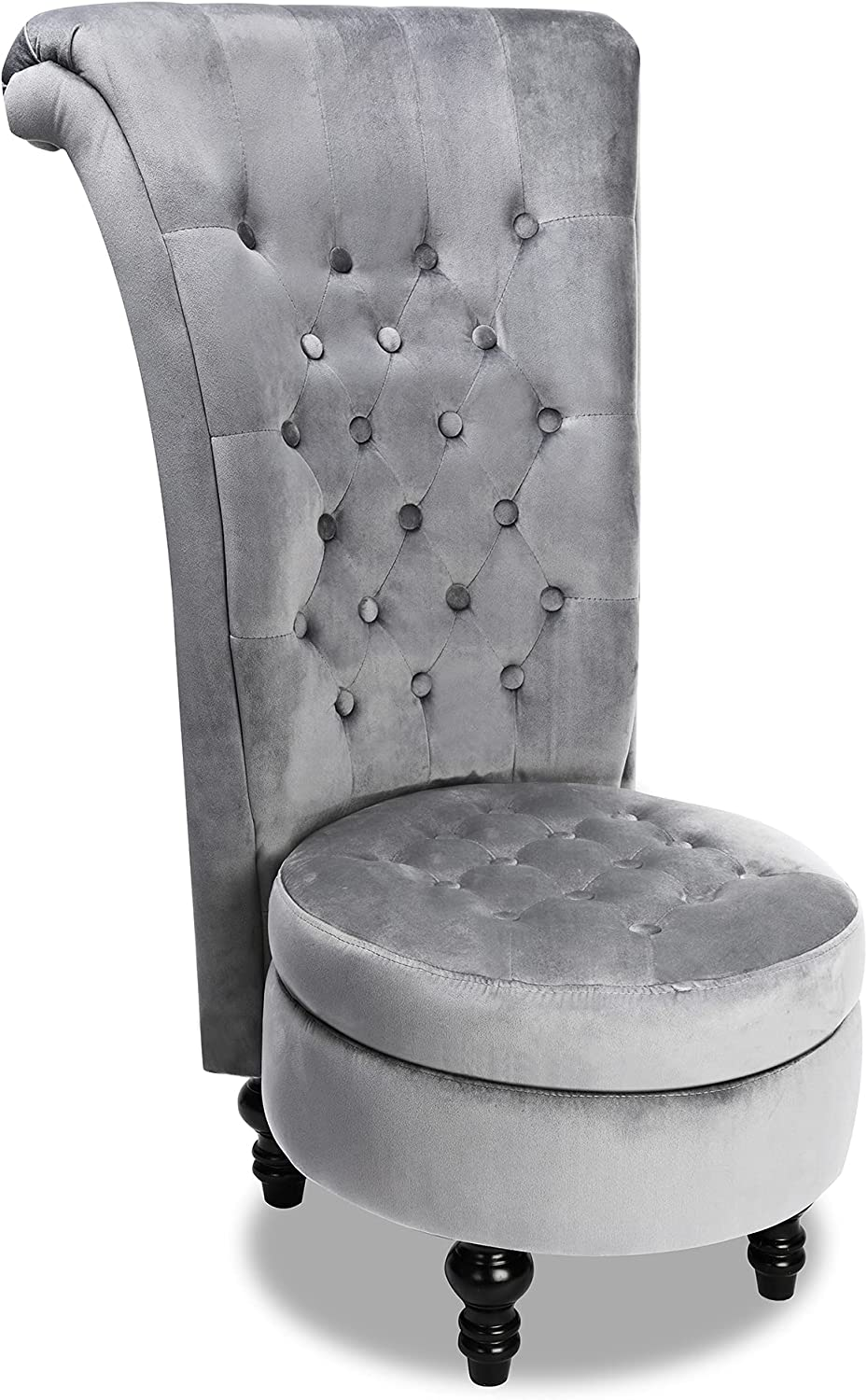 MU Royal Velvet High Back Armless Chair, Retro Elegant Luxury Throne Chair, Upholstered Tufted Accent Seat w/Storage for Dressing Room, Living Room, Bedroom, Grey, 2021 HOT