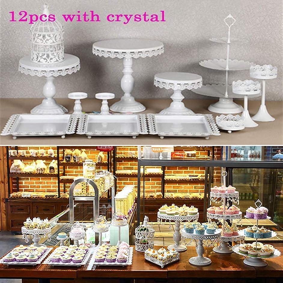 12 Set Metal Crystal Cake Holder Cupcake Stand Cake Dessert Holder with Pendants and Beads,Wedding Birthday Dessert Cupcake Pedestal Display,White (12)