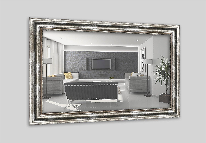 WANDStyle H550-031 Wandspiegel Spiegel Barock Modern Antik Massivholz Silber (50 x 70 cm)
