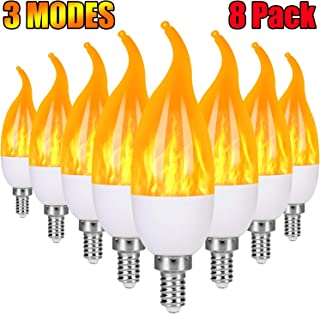 Severino E12 Flame Bulb LED Candelabra Light Bulbs,1.2 Watt Chandelier Bulbs, 3 Mode Christmas Decorations Light Candle Bulbs, Flame Tip Vintage Flame Bulbs for Holiday party Decor(8 Pack)