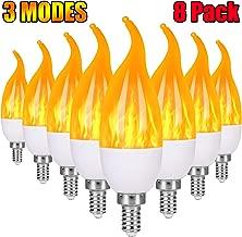 Severino E12 Flame Bulb LED Candelabra Light Bulbs,1.2 Watt Warm White LED Chandelier Bulbs,1800k 3 Mode Candle Light Bulbs, Flame Tip (8-Pack)