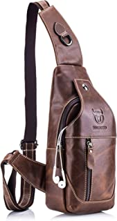 Genuine Leather Sling Bag,Full Grain Leather Casual Crossbody Shoulder Chest Bag Travel Hiking Vintage Day Pack Backpacks for Men (Brown)