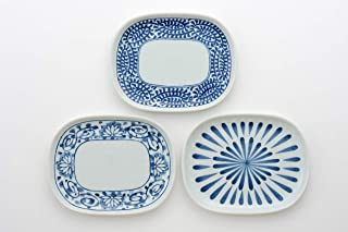 西海陶器(Saikaitoki) 中皿 ホワイト/ブルー 約奥13.8×幅17.5×高1.5cm 焼 古染絵変り楕円取皿(3柄組) 20313594