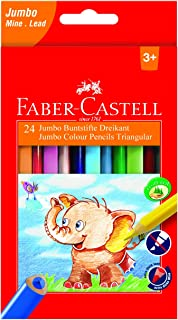 Faber-Castell 116524 Triangular Jumbo Coloured Pencils (Pack of 24)