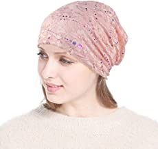 Kimloog Womens Cotton Beanie Lace Stretch Turban Soft Sleep Cap Slouchy Chemo Hats
