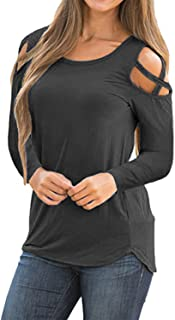 Adreamly Womens Loose Strappy Cold Shoulder Tops Basic T...