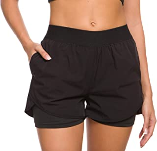 Custer's Night Women Workout Fitness Running Shorts,  Double Layer Elastic Waistband Jogging Shorts 2-in-1