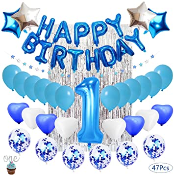 Decoración De Cumpleaños Para Niños De 1 Año Globos De Látex Rellenos De Confeti Azul Decoración De Cumpleaños Artículos Para Fiestas Amazon Es Hogar Y Cocina