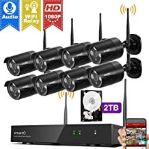 [1080p HD & Audio Compatible] xmartO 8CH 1080p HD Outdoor Wireless Security Surveillance Camera System with 8pcs 1080p HD Wireless Security Cameras and 2TB HDD, NVR with Built-in WiFi Router, 80ft IR