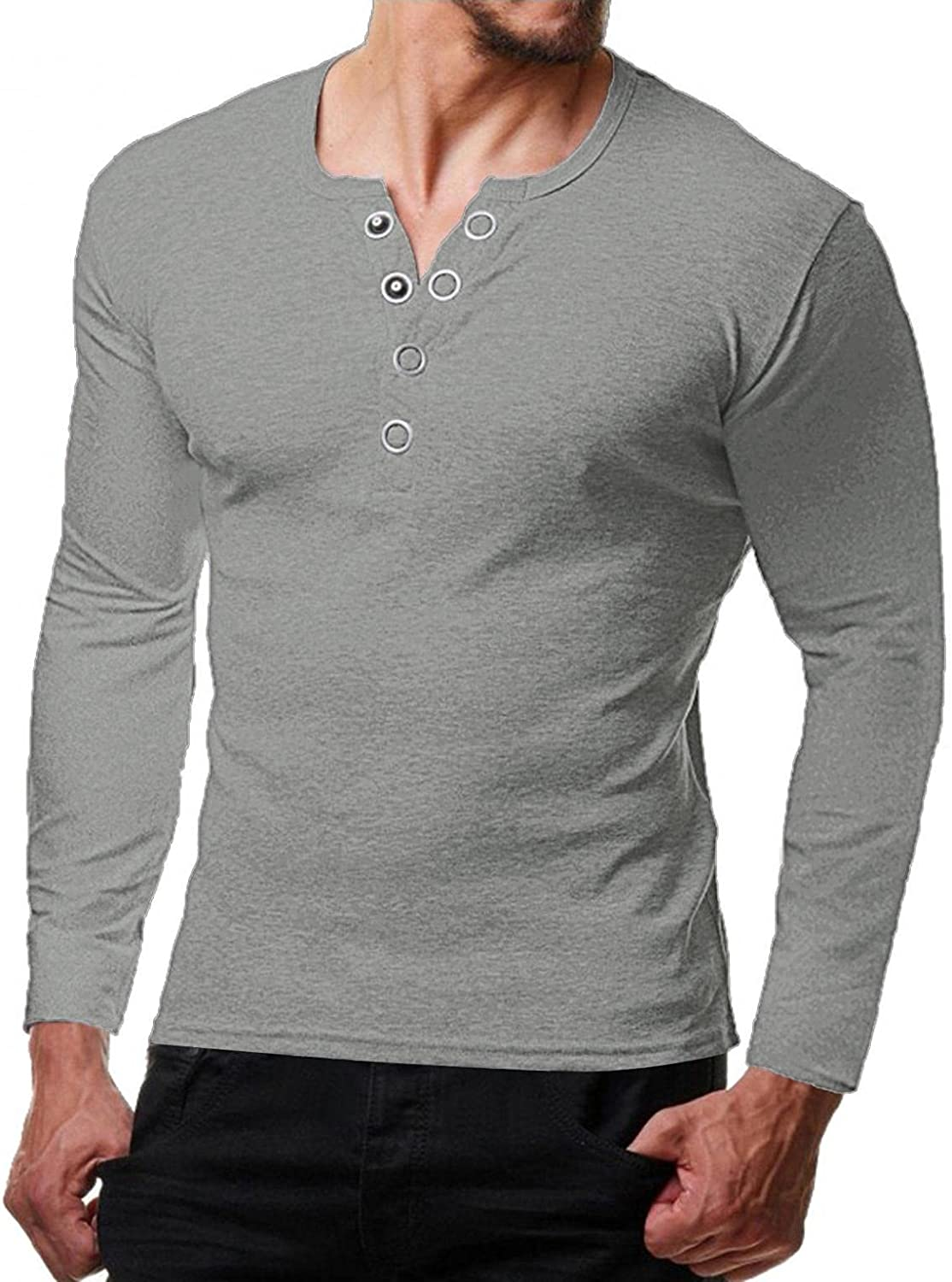 LEIYAN Mens Henley Shirt Casual Regular Fit Long Sleeve Slim Fit Gym Workout Shirt Athletic Muscle Tops