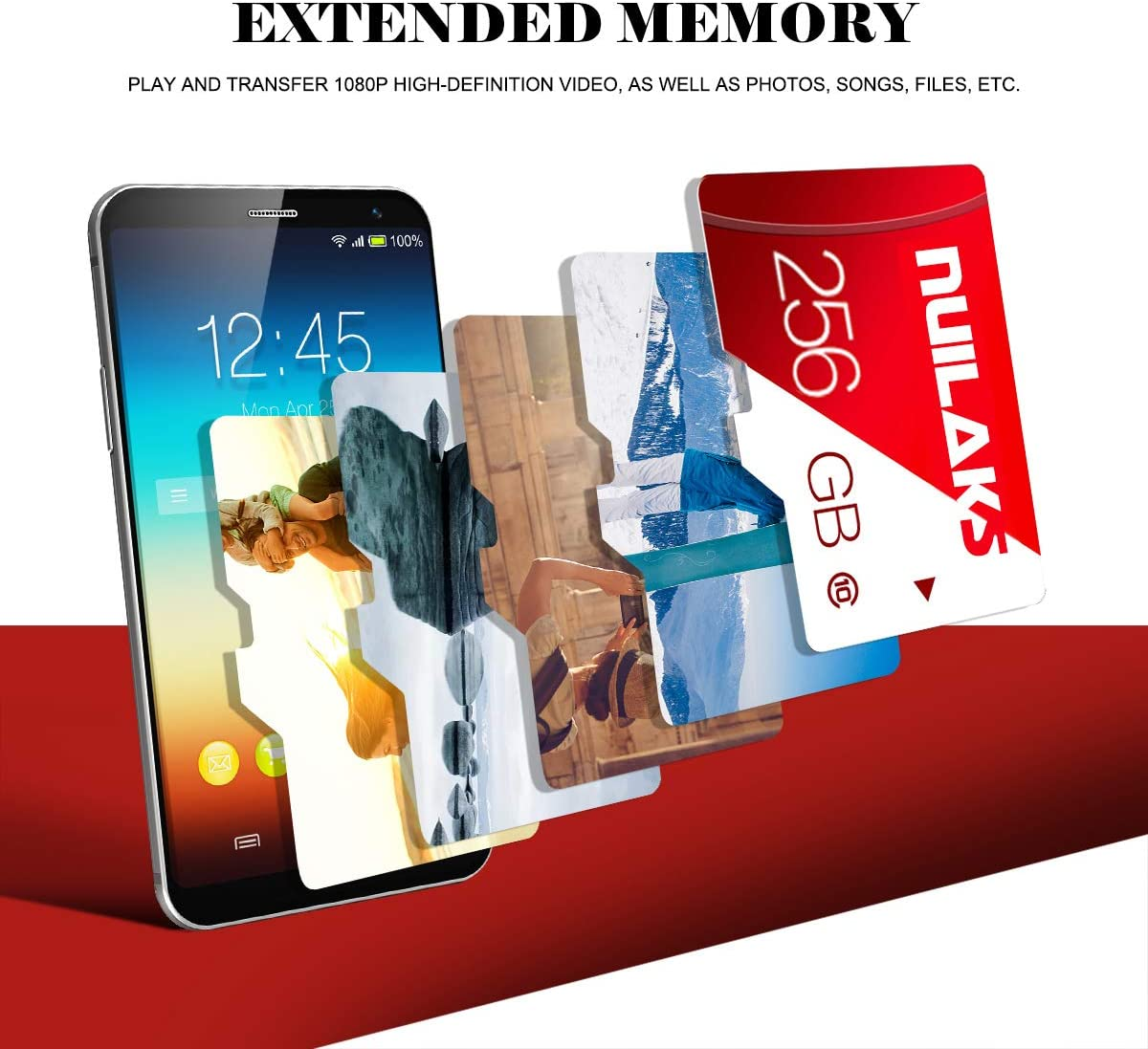 256GB Micro SD Card with SD Card Adapter High Speed Micro SD Memory Card SD Memory Cards for Camera, Phone, Computer, Tachograph, Tablet, Drone